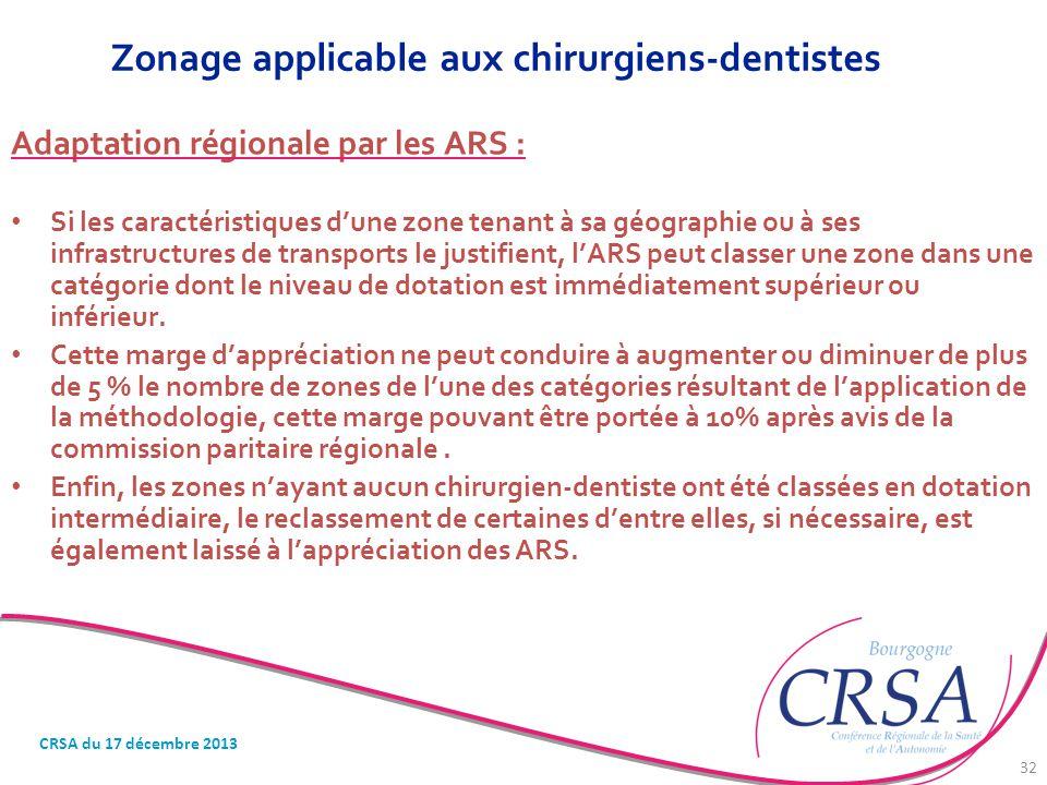 Zonage applicable aux chirurgiens-dentistes Adaptation régionale par les ARS : Si les caractéristiques d'une zone tenant à sa géographie ou à ses infr