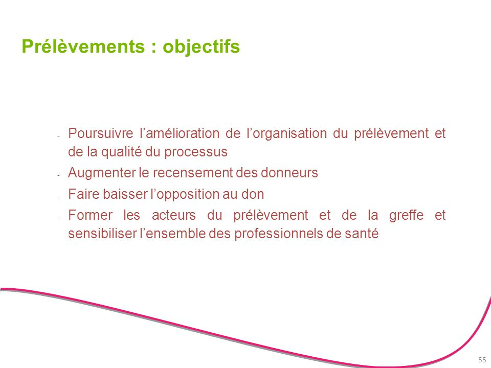 Prélèvements : objectifs - Poursuivre l'amélioration de l'organisation du prélèvement et de la qualité du processus - Augmenter le recensement des don