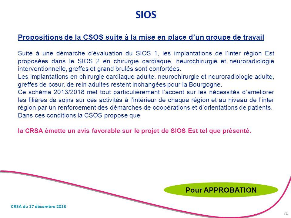 Propositions de la CSOS suite à la mise en place d'un groupe de travail Suite à une démarche d'évaluation du SIOS 1, les implantations de l'inter régi