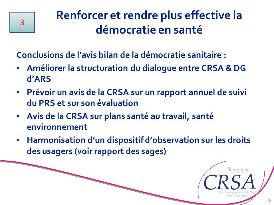 Renforcer et rendre plus effective la démocratie en santé 78 Conclusions de l'avis bilan de la démocratie sanitaire : Améliorer la structuration du di