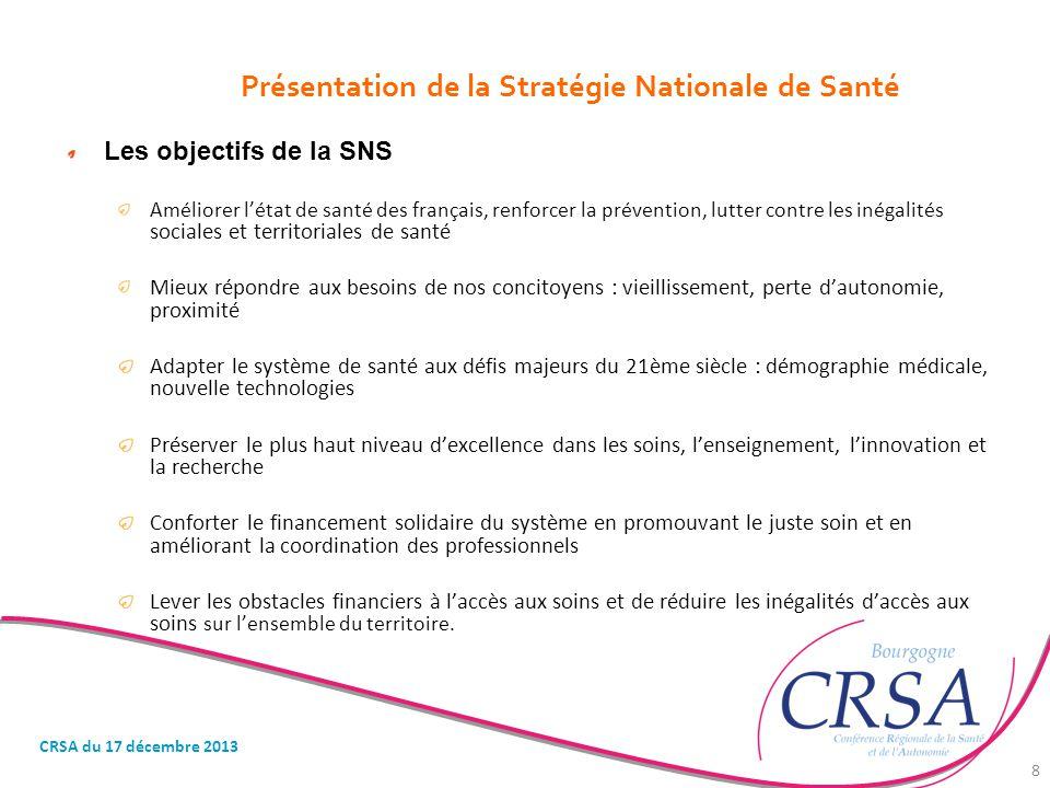Présentation de la Stratégie Nationale de Santé Les objectifs de la SNS Améliorer l'état de santé des français, renforcer la prévention, lutter contre