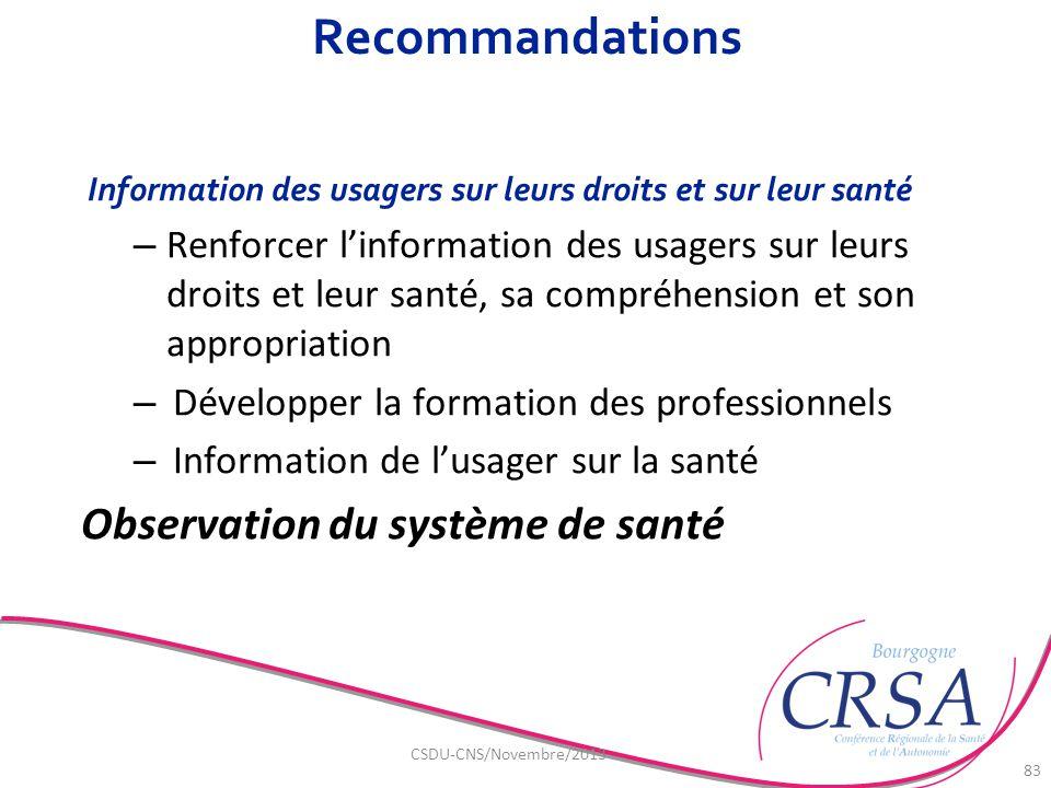 Recommandations Information des usagers sur leurs droits et sur leur santé – Renforcer l'information des usagers sur leurs droits et leur santé, sa co