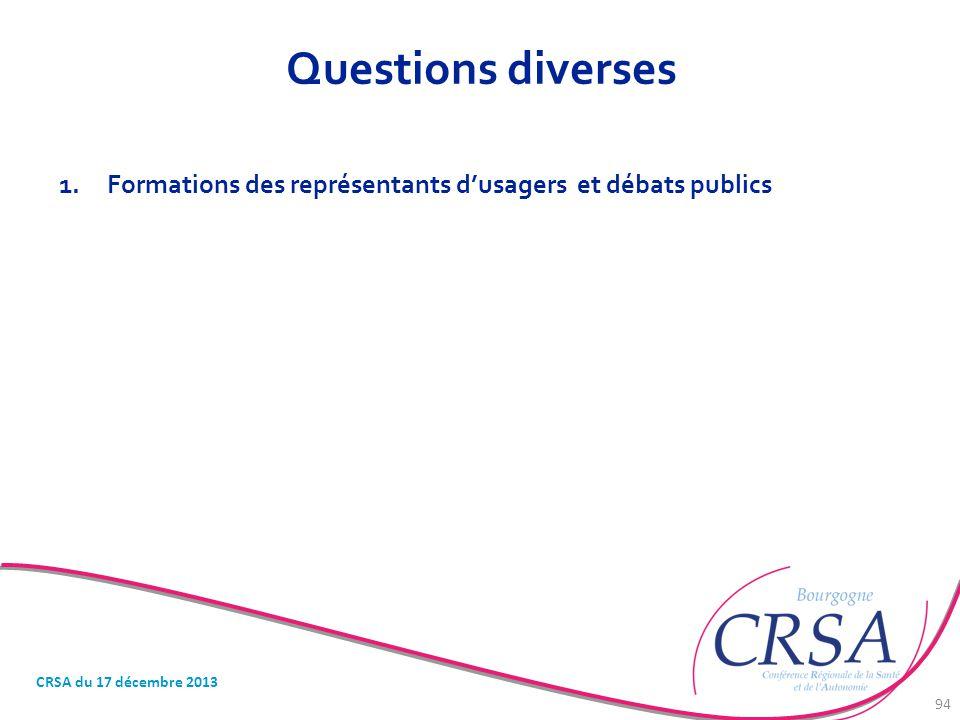 Questions diverses CRSA du 17 décembre 2013 94 1.Formations des représentants d'usagers et débats publics