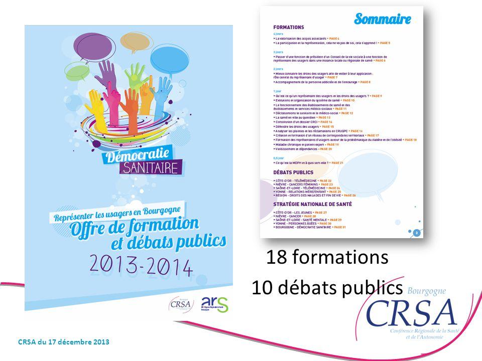 18 formations 10 débats publics CRSA du 17 décembre 2013