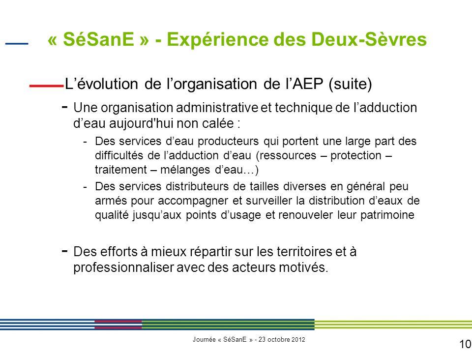 10 Journée « SéSanE » - 23 octobre 2012 L'évolution de l'organisation de l'AEP (suite) - Une organisation administrative et technique de l'adduction d