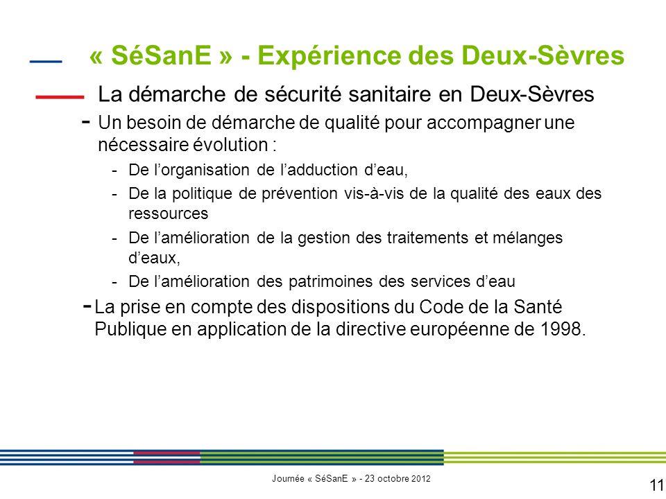 11 Journée « SéSanE » - 23 octobre 2012 La démarche de sécurité sanitaire en Deux-Sèvres - Un besoin de démarche de qualité pour accompagner une nécessaire évolution : -De l'organisation de l'adduction d'eau, -De la politique de prévention vis-à-vis de la qualité des eaux des ressources -De l'amélioration de la gestion des traitements et mélanges d'eaux, -De l'amélioration des patrimoines des services d'eau - La prise en compte des dispositions du Code de la Santé Publique en application de la directive européenne de 1998.