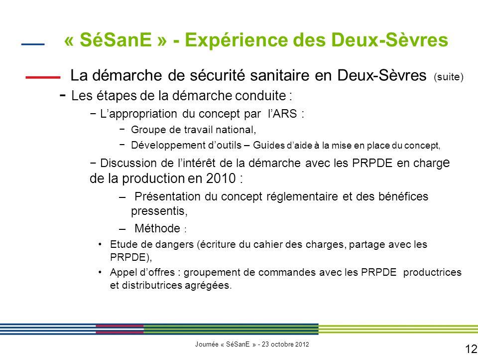 12 Journée « SéSanE » - 23 octobre 2012 La démarche de sécurité sanitaire en Deux-Sèvres (suite) - Les étapes de la démarche conduite : − L'appropriation du concept par l'ARS : −Groupe de travail national, −Développement d'outils – Gui des d'aide à la mise en place du concept, − Discussion de l'intérêt de la démarche avec les PRPDE en charg e de la production en 2010 : – Présentation du concept réglementaire et des bénéfices pressentis, – Méthode : Etude de dangers (écriture du cahier des charges, partage avec les PRPDE), Appel d'offres : groupement de commandes avec les PRPDE productrices et distributrices agrégées.