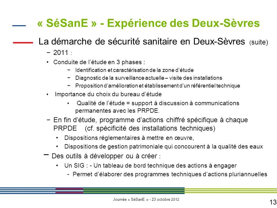 13 Journée « SéSanE » - 23 octobre 2012 La démarche de sécurité sanitaire en Deux-Sèvres ( suite) −2011 : Conduite de l'étude en 3 phases : −Identific