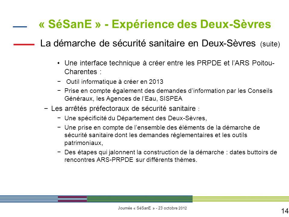 14 Journée « SéSanE » - 23 octobre 2012 La démarche de sécurité sanitaire en Deux-Sèvres (suite) Une interface technique à créer entre les PRPDE et l'
