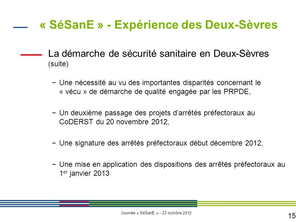 15 Journée « SéSanE » - 23 octobre 2012 La démarche de sécurité sanitaire en Deux-Sèvres (suite) −Une nécessité au vu des importantes disparités conce