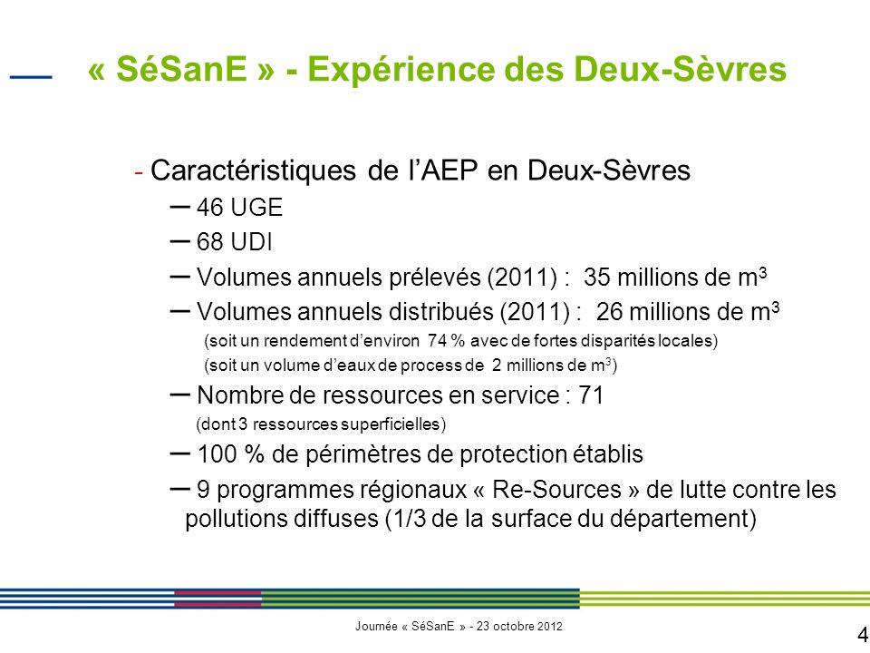 4 Journée « SéSanE » - 23 octobre 2012 − Caractéristiques de l'AEP en Deux-Sèvres – 46 UGE – 68 UDI – Volumes annuels prélevés (2011) : 35 millions de m 3 – Volumes annuels distribués (2011) : 26 millions de m 3 (soit un rendement d'environ 74 % avec de fortes disparités locales) (soit un volume d'eaux de process de 2 millions de m 3 ) – Nombre de ressources en service : 71 (dont 3 ressources superficielles) – 100 % de périmètres de protection établis – 9 programmes régionaux « Re-Sources » de lutte contre les pollutions diffuses (1/3 de la surface du département) « SéSanE » - Expérience des Deux-Sèvres