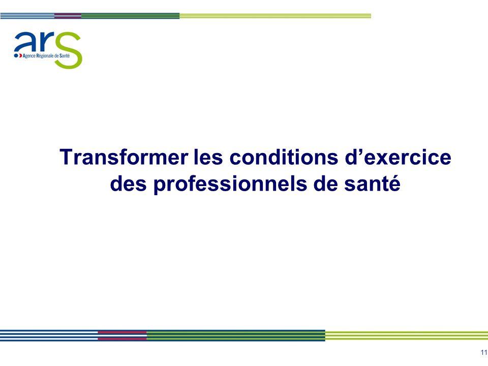 11 Transformer les conditions d'exercice des professionnels de santé