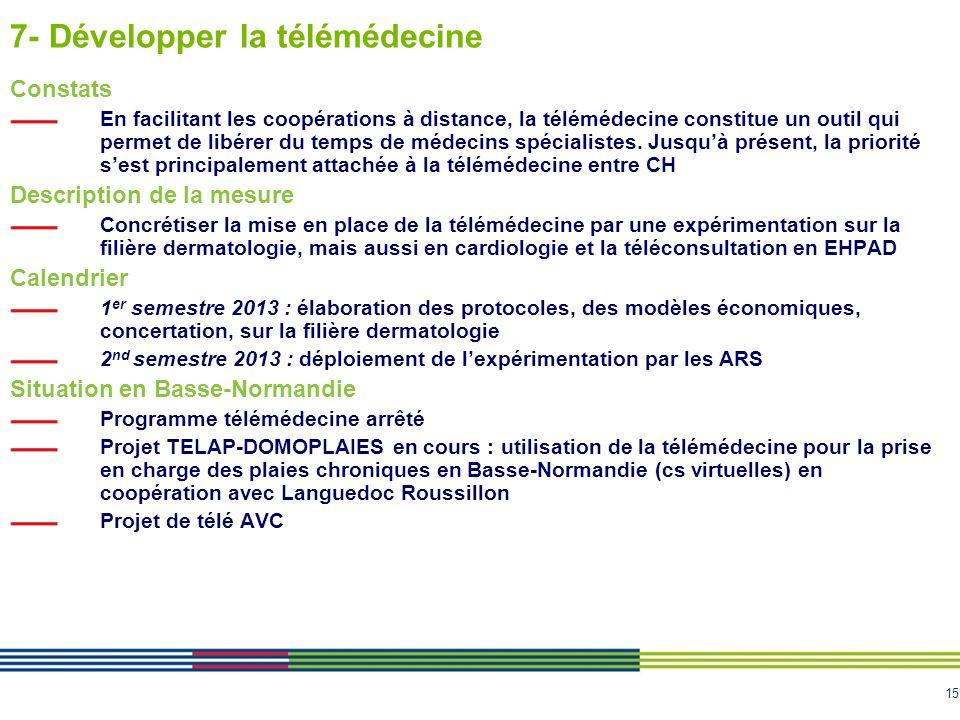 15 7- Développer la télémédecine Constats En facilitant les coopérations à distance, la télémédecine constitue un outil qui permet de libérer du temps