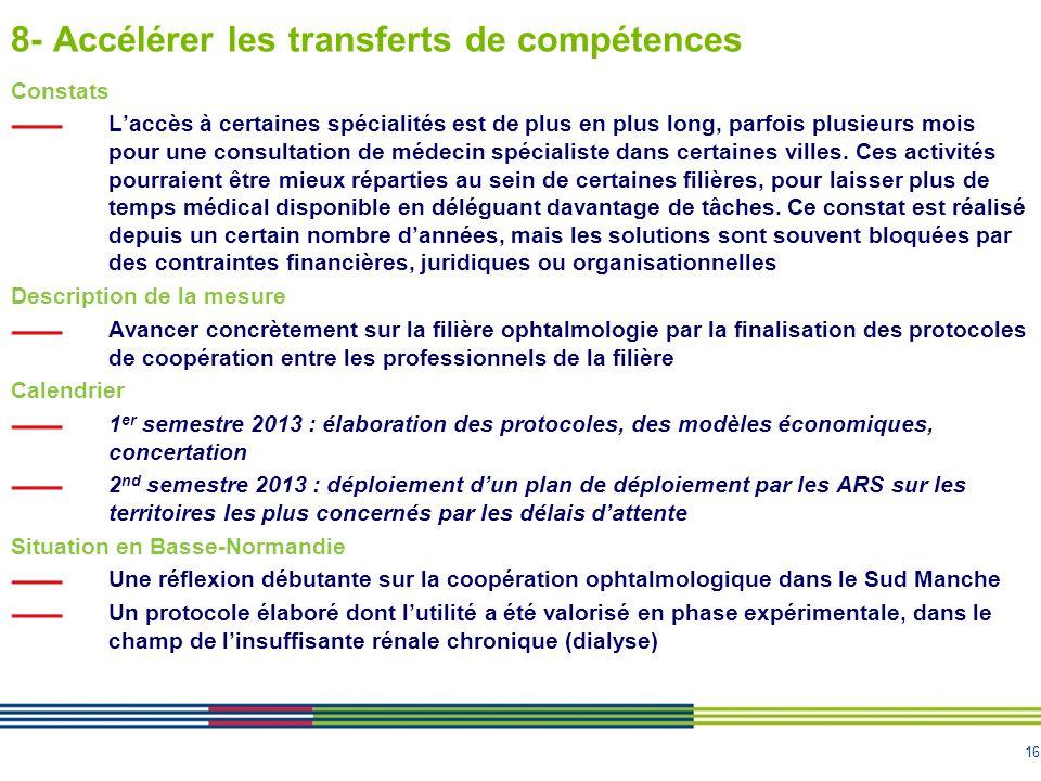16 8- Accélérer les transferts de compétences Constats L'accès à certaines spécialités est de plus en plus long, parfois plusieurs mois pour une consu