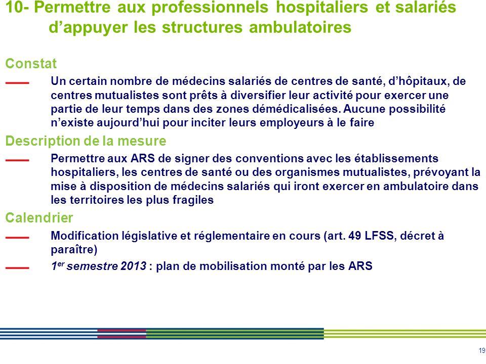 19 10- Permettre aux professionnels hospitaliers et salariés d'appuyer les structures ambulatoires Constat Un certain nombre de médecins salariés de c