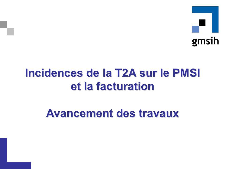 Incidences de la T2A sur le PMSI et la facturation Avancement des travaux Incidences de la T2A sur le PMSI et la facturation Avancement des travaux