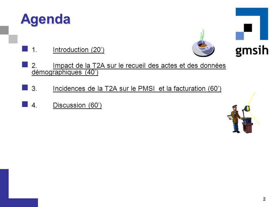 2 Agenda 1.Introduction (20') 2.Impact de la T2A sur le recueil des actes et des données démographiques (40') 3. Incidences de la T2A sur le PMSI et l