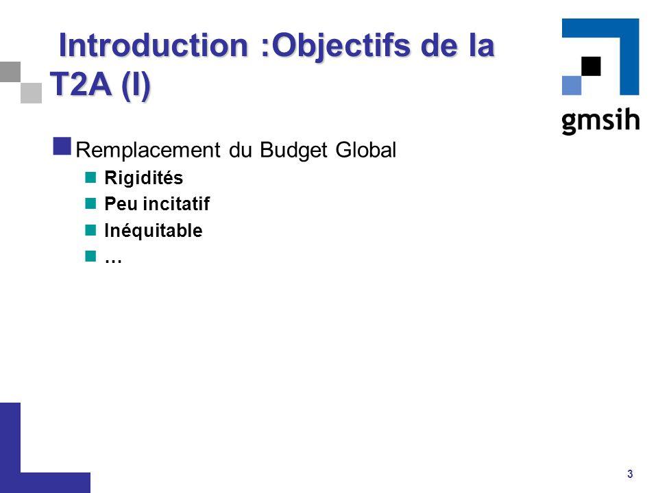 3 Introduction :Objectifs de la T2A (I) Introduction :Objectifs de la T2A (I) Remplacement du Budget Global Rigidités Peu incitatif Inéquitable …