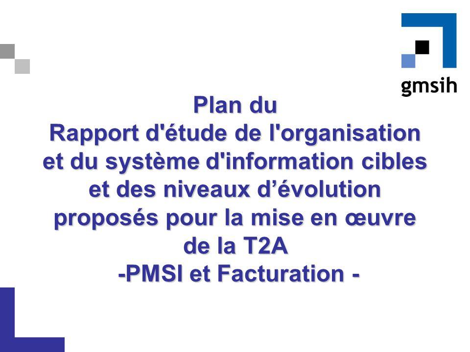 Plan du Rapport d'étude de l'organisation et du système d'information cibles et des niveaux d'évolution proposés pour la mise en œuvre de la T2A -PMSI