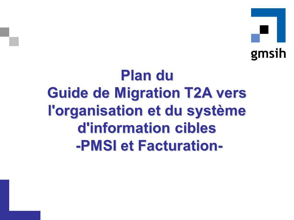 Plan du Guide de Migration T2A vers l'organisation et du système d'information cibles -PMSI et Facturation-