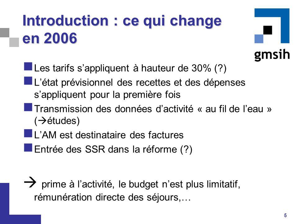 5 Introduction : ce qui change en 2006 Les tarifs s'appliquent à hauteur de 30% (?) L'état prévisionnel des recettes et des dépenses s'appliquent pour