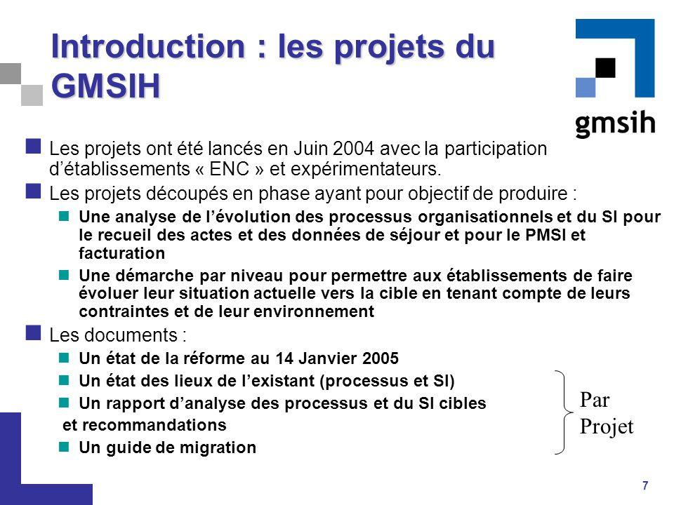 7 Introduction : les projets du GMSIH Les projets ont été lancés en Juin 2004 avec la participation d'établissements « ENC » et expérimentateurs. Les