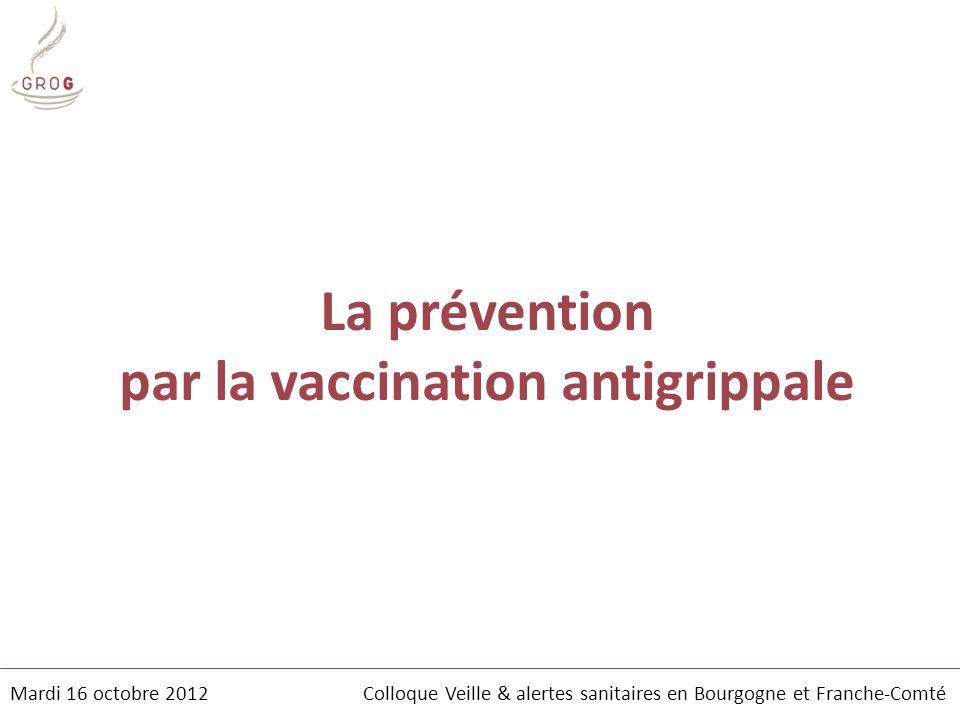 La prévention par la vaccination antigrippale Mardi 16 octobre 2012 Colloque Veille & alertes sanitaires en Bourgogne et Franche-Comté