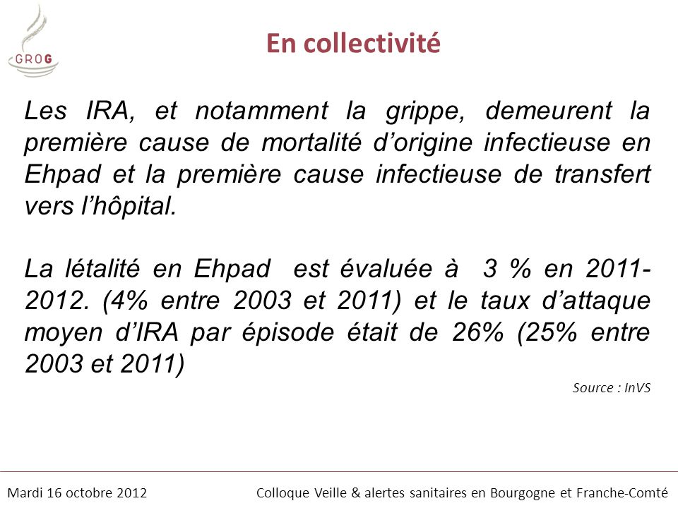 Mardi 16 octobre 2012 Colloque Veille & alertes sanitaires en Bourgogne et Franche-Comté Impact de la grippe en Bourgogne-Franche Comté Comparaison tous âges- ≥65 ans, en population générale 2007-2008 H1N1 2008-2009 H3N2 2011-2012 H3N2 2009-2010 H1N1 pdm 2010-2011 H1N1 et B