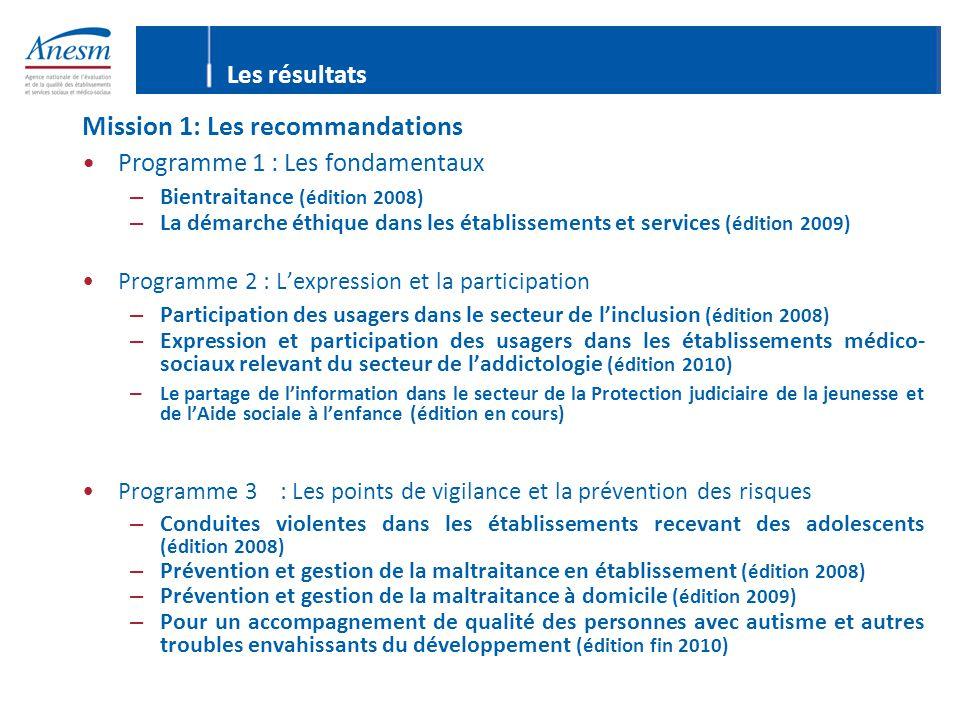 Les résultats Mission 1: Les recommandations Programme 1 : Les fondamentaux – Bientraitance (édition 2008) – La démarche éthique dans les établissemen