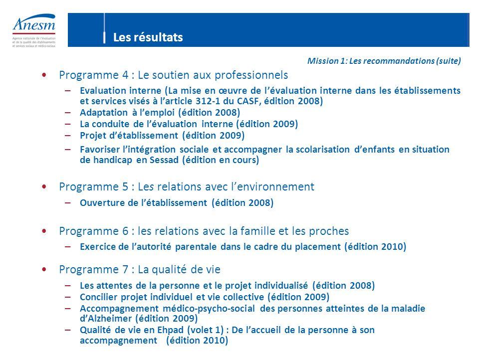 Les résultats Mission 1: Les recommandations (suite) Programme 4 : Le soutien aux professionnels – Evaluation interne (La mise en œuvre de l'évaluatio