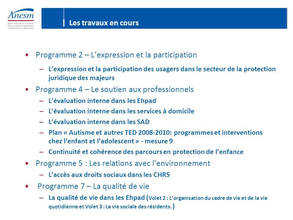 Programme 2 – L'expression et la participation – L'expression et la participation des usagers dans le secteur de la protection juridique des majeurs P