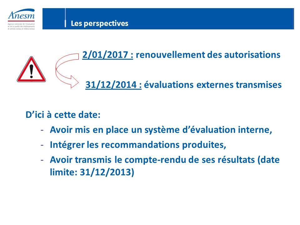 2/01/2017 : renouvellement des autorisations 31/12/2014 : évaluations externes transmises D'ici à cette date: -Avoir mis en place un système d'évaluation interne, -Intégrer les recommandations produites, -Avoir transmis le compte-rendu de ses résultats (date limite: 31/12/2013) Les perspectives