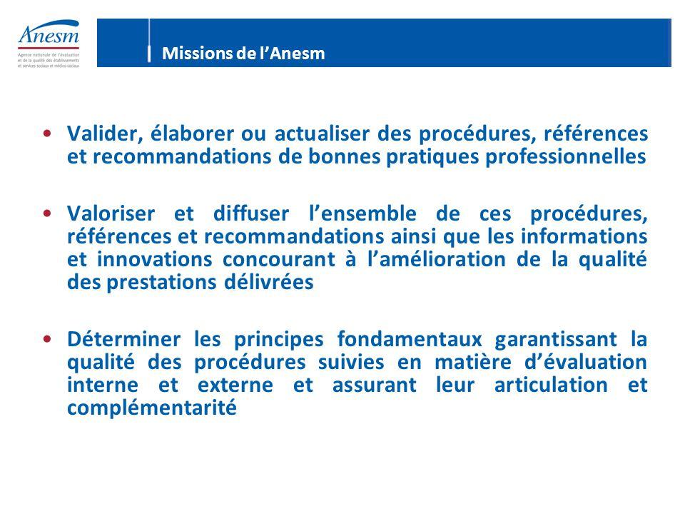 Missions de l'Anesm Valider, élaborer ou actualiser des procédures, références et recommandations de bonnes pratiques professionnelles Valoriser et di