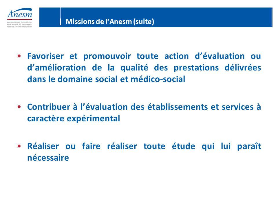 Missions de l'Anesm (suite) Favoriser et promouvoir toute action d'évaluation ou d'amélioration de la qualité des prestations délivrées dans le domain