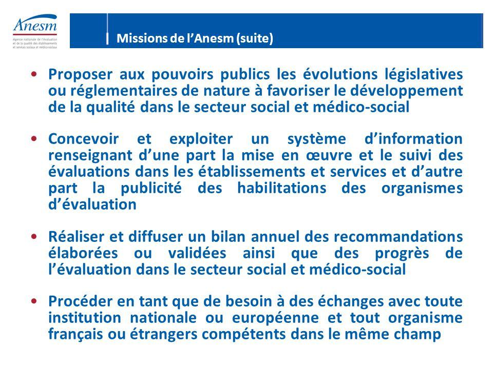 Proposer aux pouvoirs publics les évolutions législatives ou réglementaires de nature à favoriser le développement de la qualité dans le secteur socia