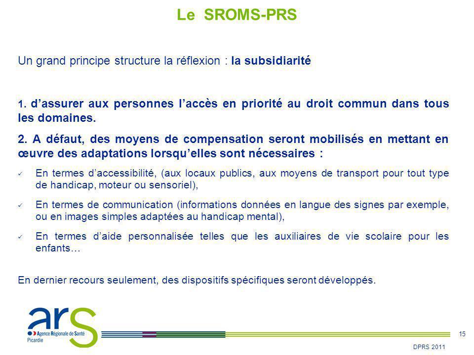 15 DPRS 2011 Un grand principe structure la réflexion : la subsidiarité 1. d'assurer aux personnes l'accès en priorité au droit commun dans tous les d