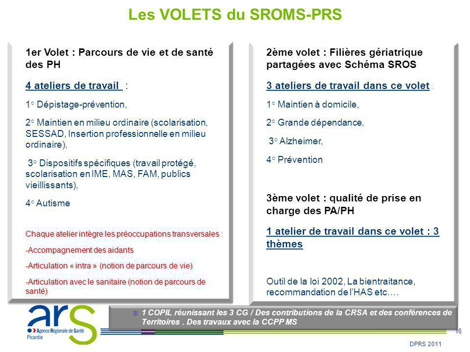 16 DPRS 2011 1er Volet : Parcours de vie et de santé des PH 4 ateliers de travail : 1° Dépistage-prévention, 2° Maintien en milieu ordinaire (scolaris