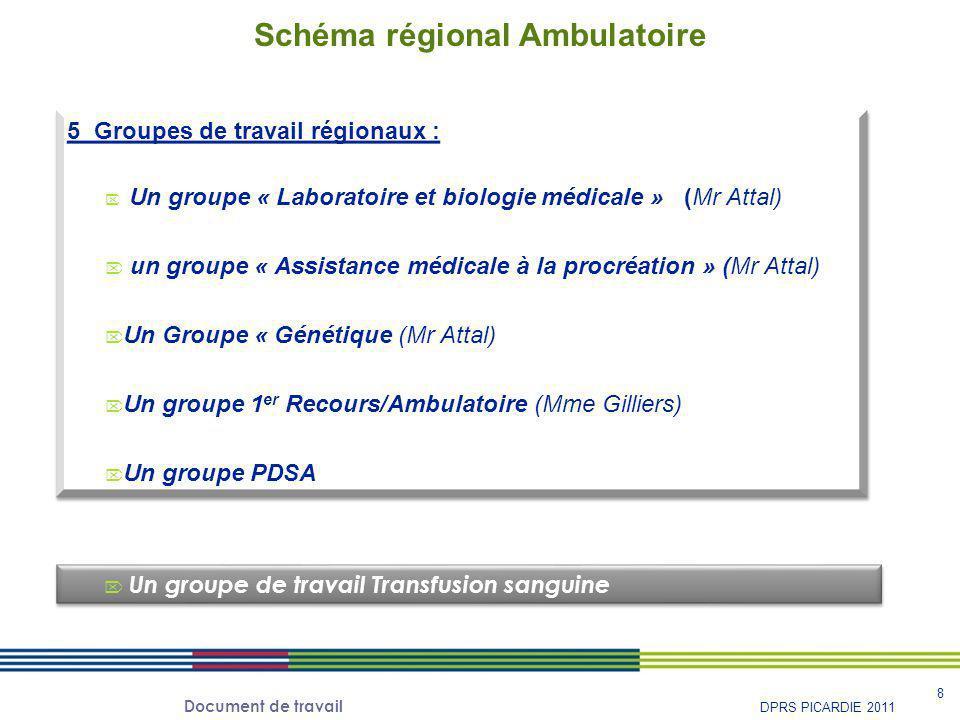 Document de travail 8 DPRS PICARDIE 2011 5 Groupes de travail régionaux :  Un groupe « Laboratoire et biologie médicale » (Mr Attal)  un groupe « As