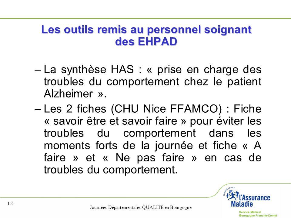 Journées Départementales QUALITE en Bourgogne 12 Les outils remis au personnel soignant des EHPAD –La synthèse HAS : « prise en charge des troubles du comportement chez le patient Alzheimer ».