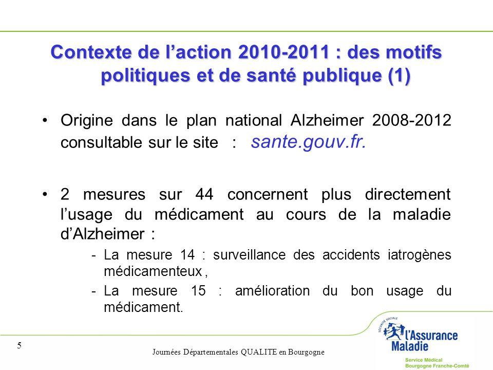 Journées Départementales QUALITE en Bourgogne 5 Contexte de l'action 2010-2011 : des motifs politiques et de santé publique (1) Origine dans le plan n