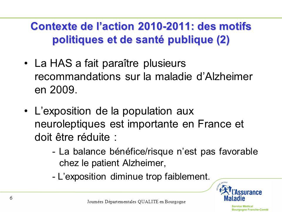 Journées Départementales QUALITE en Bourgogne 6 Contexte de l'action 2010-2011: des motifs politiques et de santé publique (2) La HAS a fait paraître plusieurs recommandations sur la maladie d'Alzheimer en 2009.