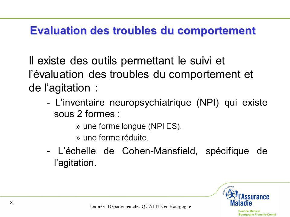 Journées Départementales QUALITE en Bourgogne 8 Evaluation des troubles du comportement Il existe des outils permettant le suivi et l'évaluation des t