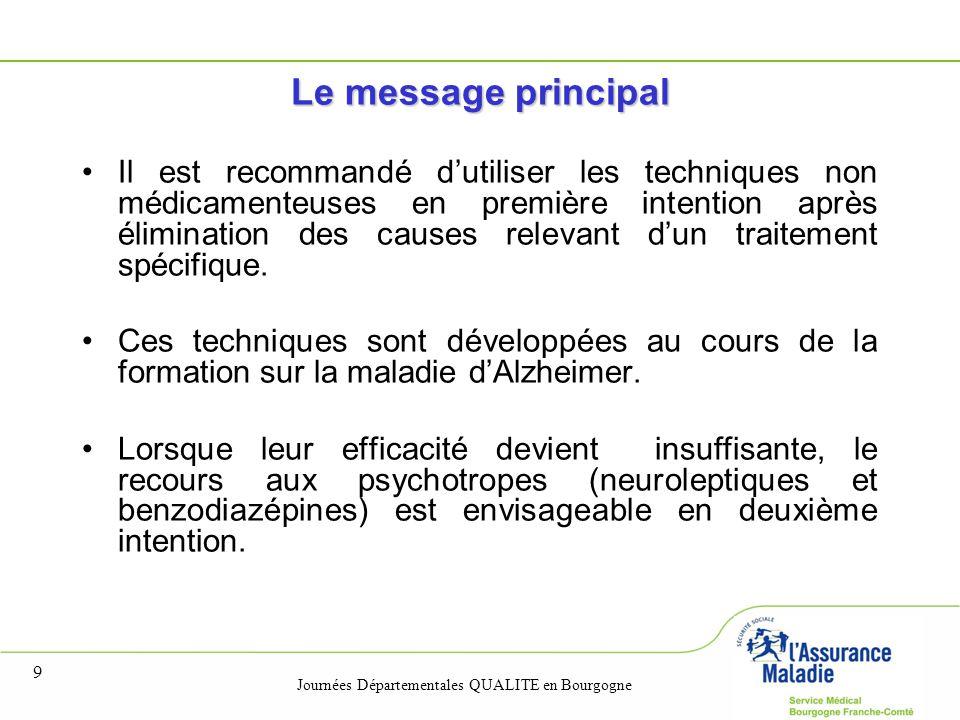 Journées Départementales QUALITE en Bourgogne 9 Le message principal Il est recommandé d'utiliser les techniques non médicamenteuses en première intention après élimination des causes relevant d'un traitement spécifique.
