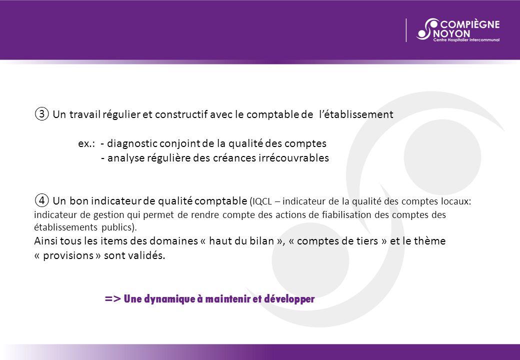 ③ Un travail régulier et constructif avec le comptable de l'établissement ex.: - diagnostic conjoint de la qualité des comptes - analyse régulière des