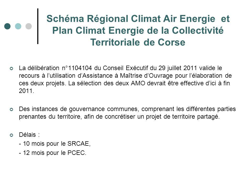 Schéma Régional Climat Air Energie et Plan Climat Energie de la Collectivité Territoriale de Corse La délibération n°1104104 du Conseil Exécutif du 29