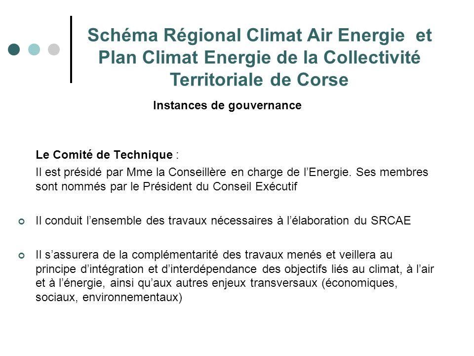 Instances de gouvernance Le Comité de Technique : Il est présidé par Mme la Conseillère en charge de l'Energie. Ses membres sont nommés par le Préside