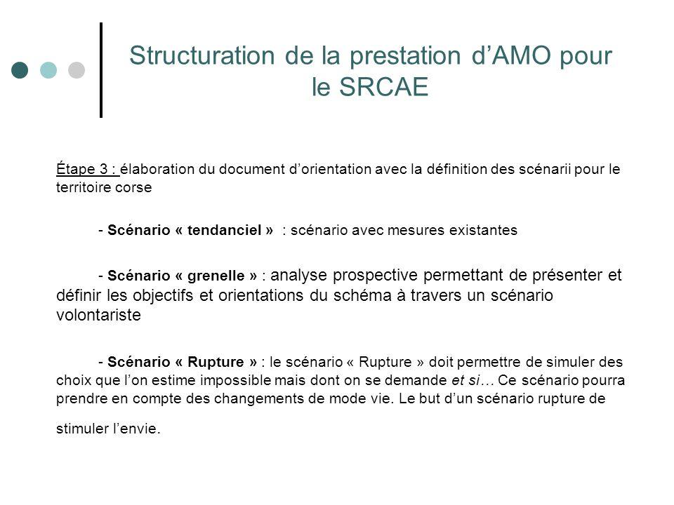 Structuration de la prestation d'AMO pour le SRCAE Étape 3 : élaboration du document d'orientation avec la définition des scénarii pour le territoire