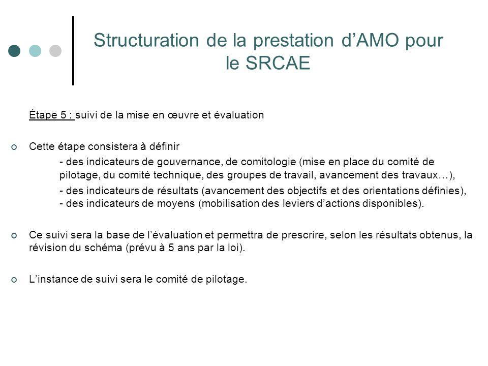 Structuration de la prestation d'AMO pour le SRCAE Étape 5 : suivi de la mise en œuvre et évaluation Cette étape consistera à définir - des indicateur