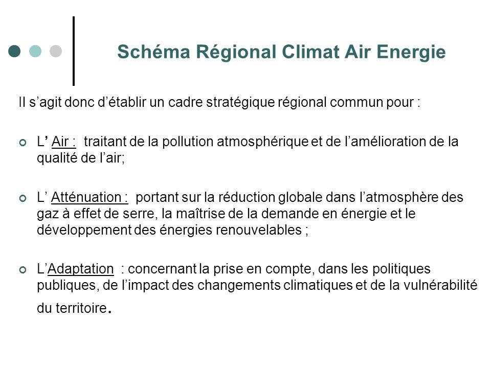 Il s'agit donc d'établir un cadre stratégique régional commun pour : L' Air : traitant de la pollution atmosphérique et de l'amélioration de la qualit