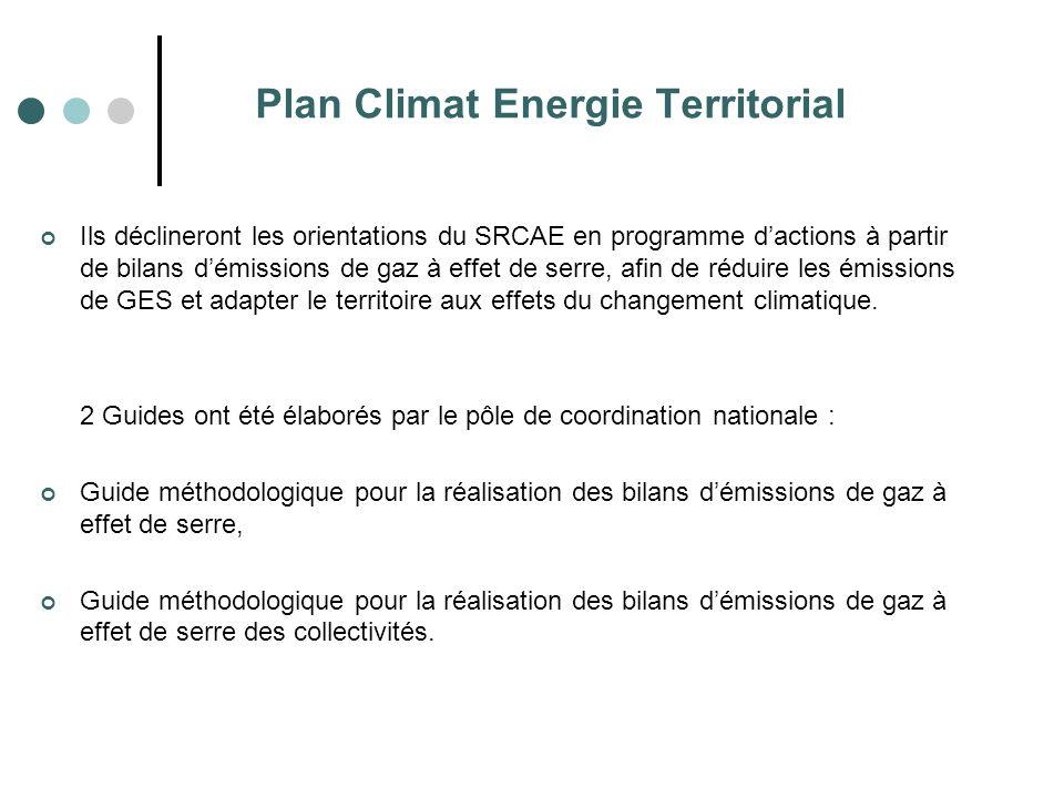 Plan Climat Energie Territorial Ils déclineront les orientations du SRCAE en programme d'actions à partir de bilans d'émissions de gaz à effet de serr